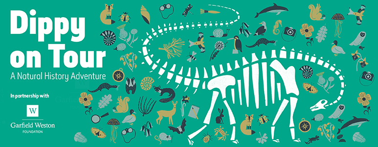 Dippy on Tour promo poster, showing a cartoon skeleton dippy surrounded by plants and animals