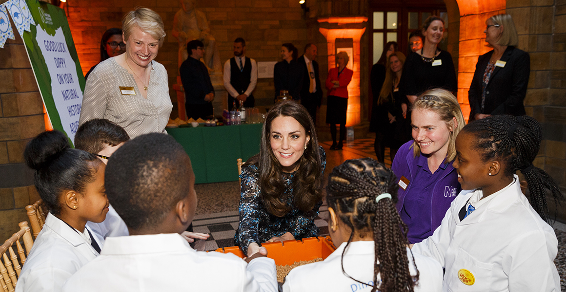 HRH The Duchess of Cambridge at a tea party to say goodbye to Dippy the Diplodocus