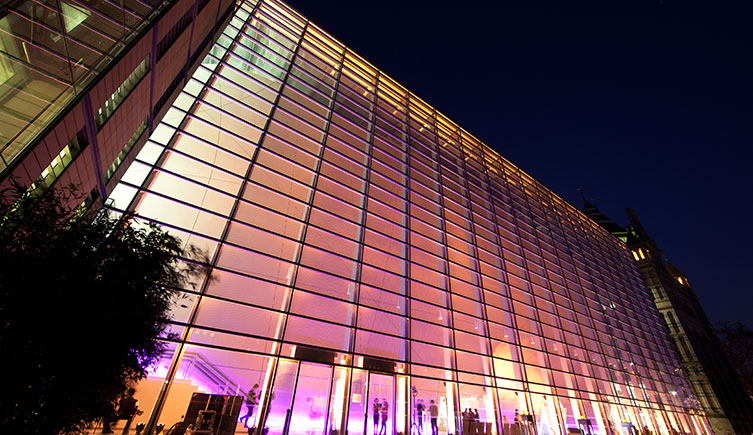 The Darwin Centre lit up at night