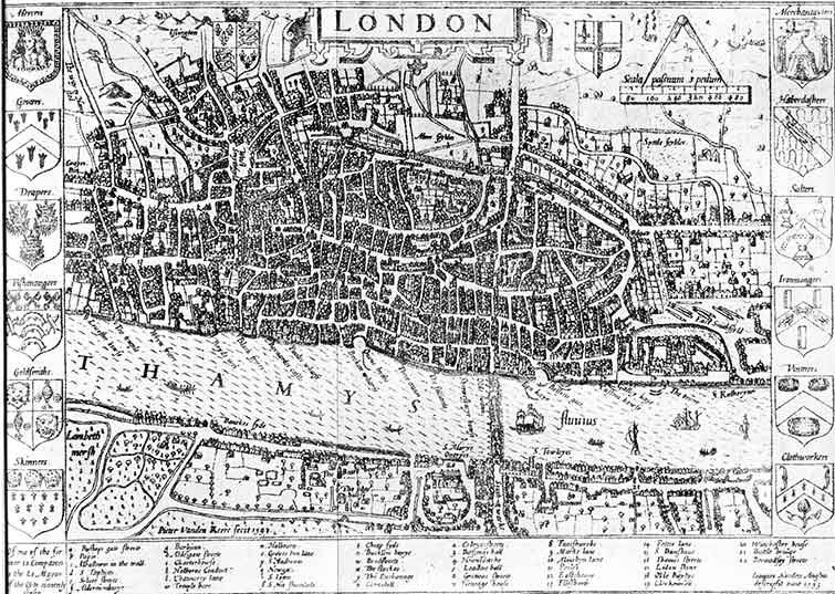 Map of Medieval London by John Norden