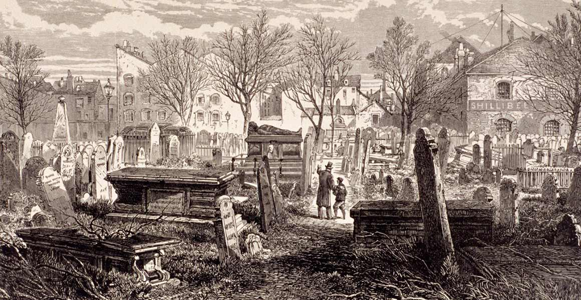 A Victorian illustration of the cemetery at Bunhill Fields in London