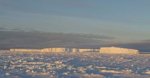Ice berg surrounded by sea ice