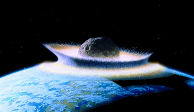 An artist's impression of what an asteroid colliding with Earth might look like.