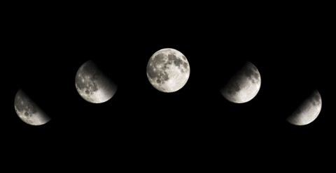 Composite photograph showing different degrees of the Moon