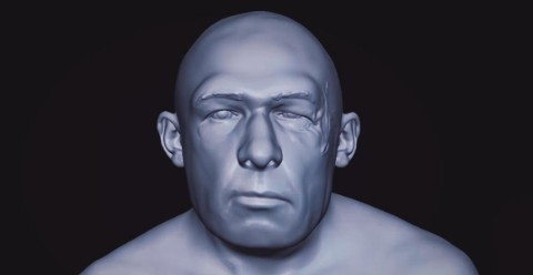 A computer-generated image that will eventually become a realistic model of a Neanderthal man.