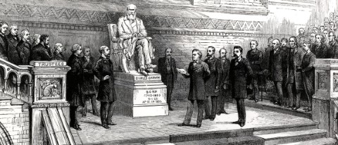 Unveiling the statue of Charles Darwin, 1885