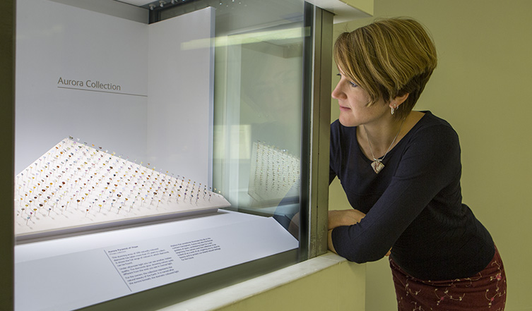 Robin Hansen, a mineral curator, admires the collection
