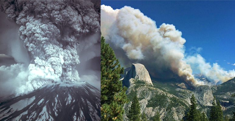 Volcanic eruption of Mt St Helens and a forest fire at Yosemite National Park