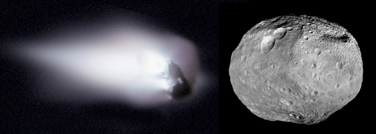 The 4Vesta asteroid and 1P/Halley comet