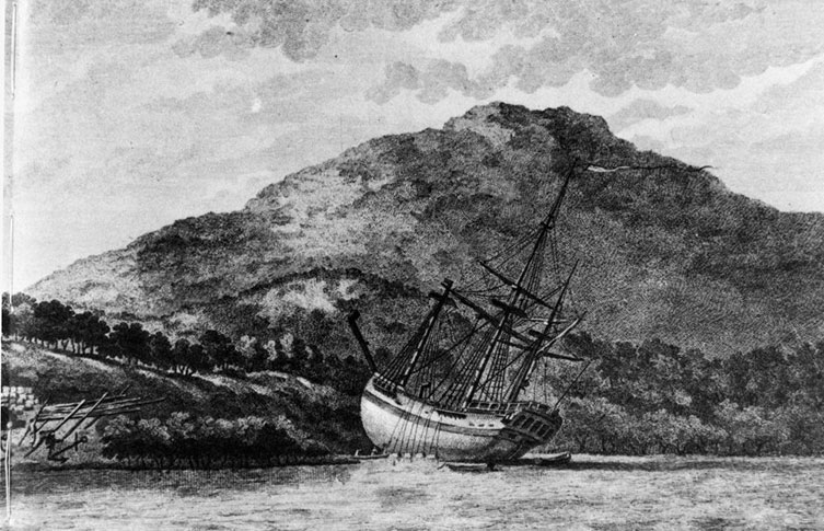 HMS Endeavour beached for repairs by Sydney Parkinson