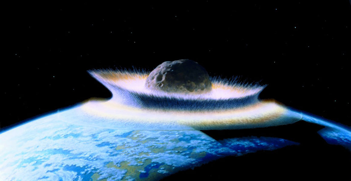 An illustration of an asteroid colliding with Earth