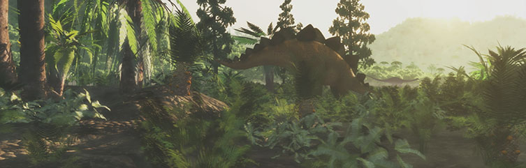 Artists impression of a dinosaur scene from the Jurassic Period