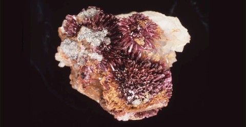 A pinkish-red mineral on a black background.