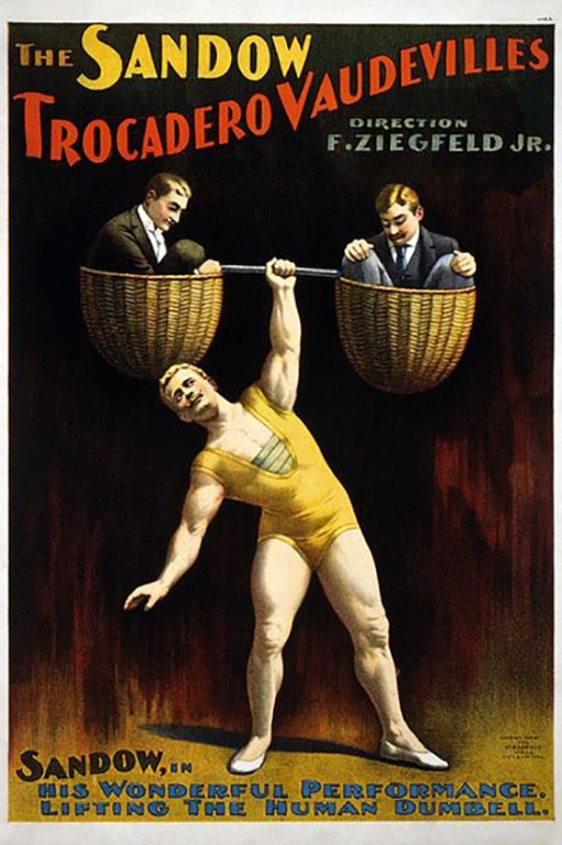 Victorian poster showing Eugen Sandow lifting a 'human dumbell'