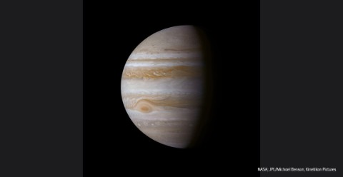 Picture of Jupiter, with its Great Red Spot visible to the left