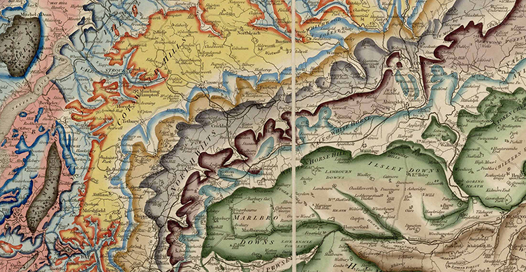 A particularly colourful segment of Smith's 1815 map from the Cotswold area