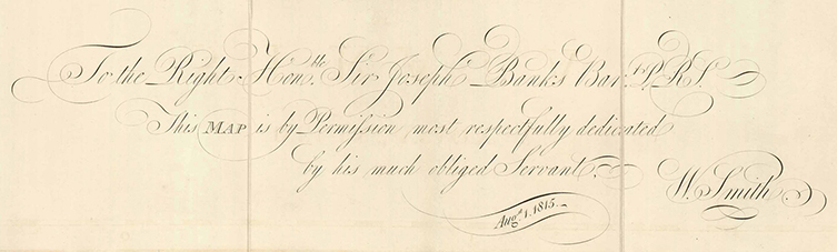 Inscription on William Smith's 1815 map