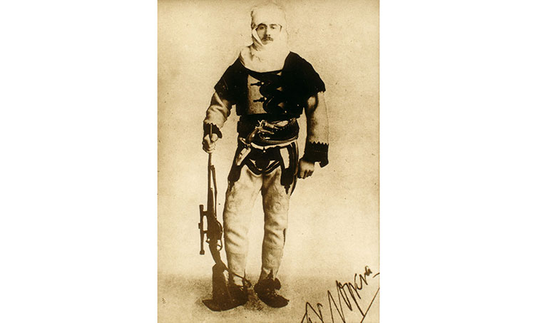 A photograph of Nopcsa dressed in a traditional Albanian outfit