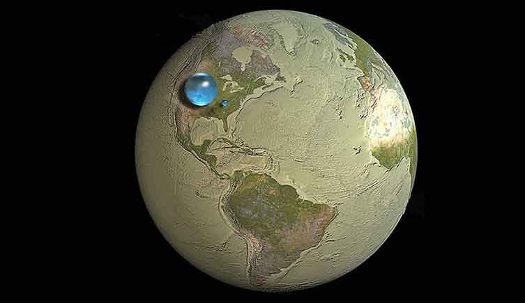 The volume of water on Earth compared to the Earth itself