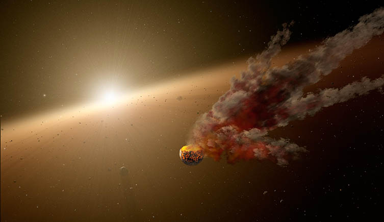A smash up between two asteroids in the early solar system