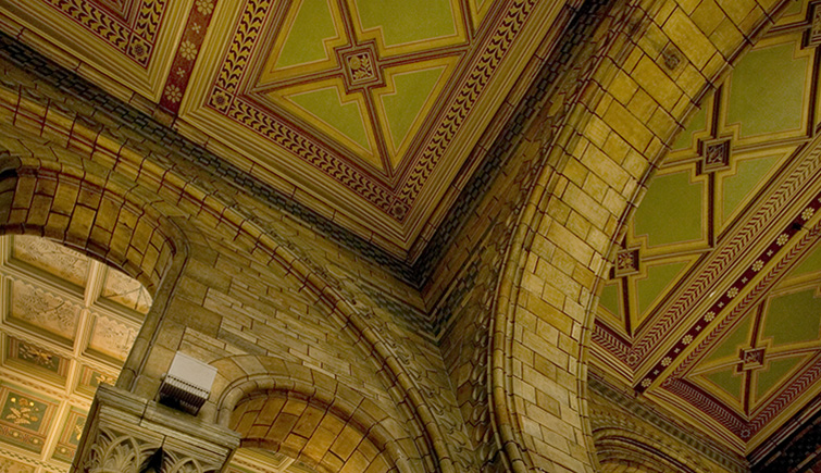 Architectural features of Hintze Hall