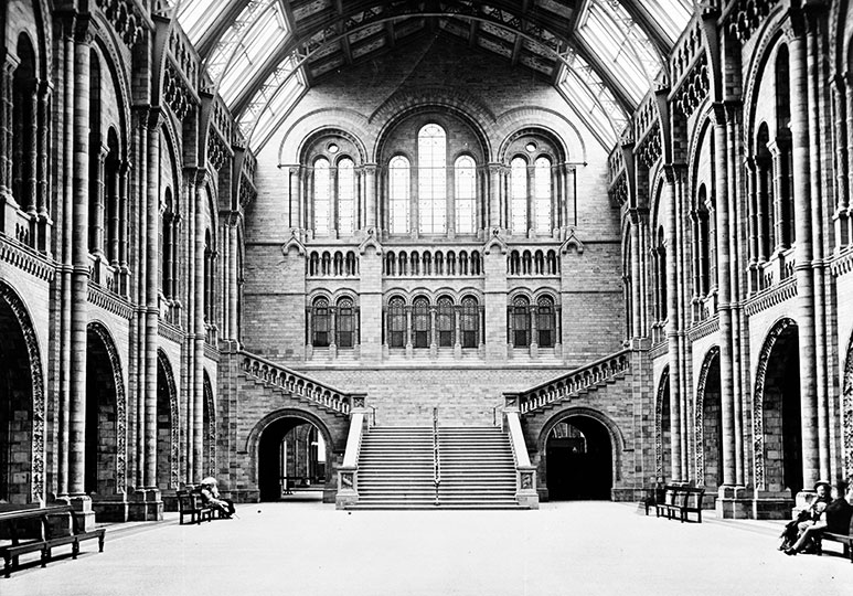 Black and white photograph of Hintze Hall, taken in 1882