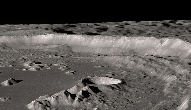 lunar landscape of a crater near the Moon south pole