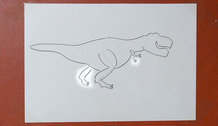 T. rex drawing with the second leg and arm highlighted