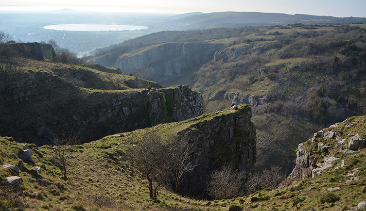 Panoramic view over Cheddar Gorge in Somerset