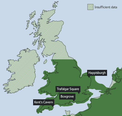 Map of Britain as it was 400,000 years ago