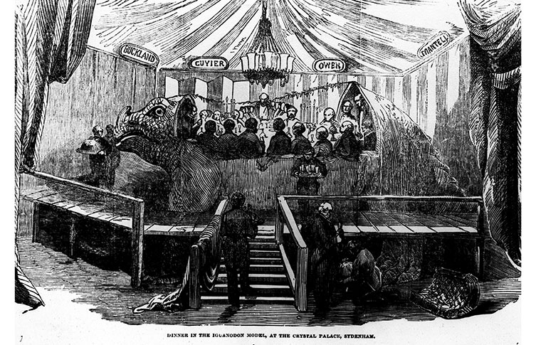 Illustration of a dinner party inside the Crystal Palace Iguanodon sculpture