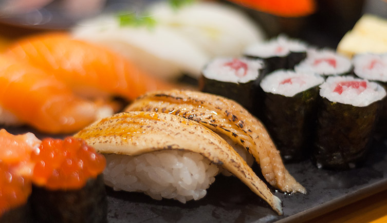 Eel sushi in a restaurant. European eels are now listed by the International Union for Conservation of Nature (IUCN) as critically endangered.