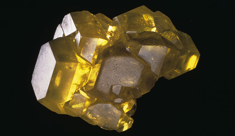 A crystal specimen of sulphur from the Museum collections