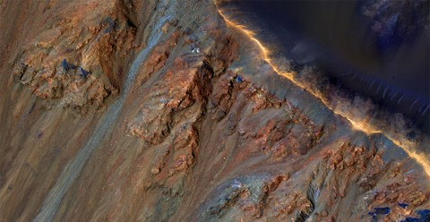 A NASA image showing the craggy surface of Mars