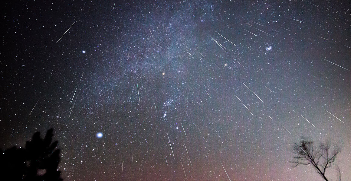 Composite image of the Perseids meteor shower in 2015
