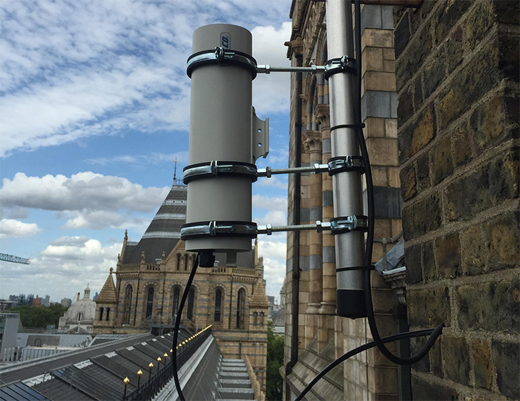 The meteor camera pictured in its cylindrical housing on the Museum roof.