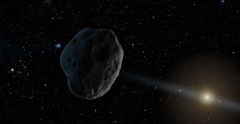 An artist's concept of an asteroid belt around a Sun-like star beyond an Earth-like planet
