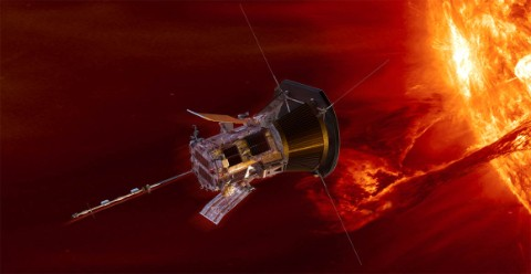 The Parker Solar Probe with the Sun in the background