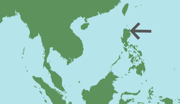 Map of southeast asia showing the location of Luzon