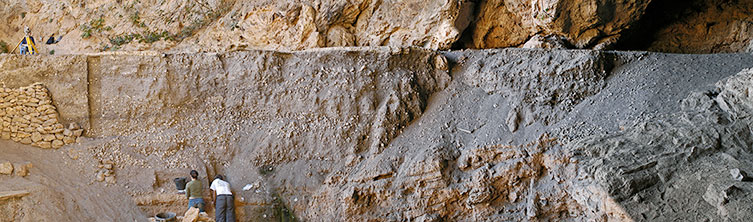 Layers of archaeological deposits in the Grotte des Pigeons cave