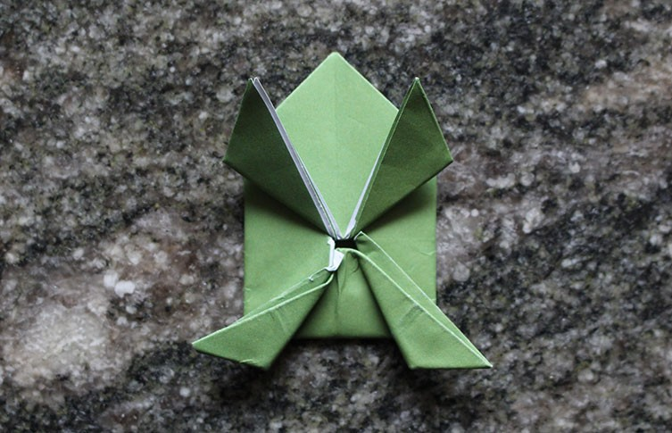 making origami frog base, tutorial video | 485x753