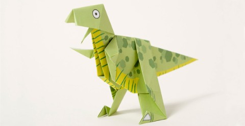 Completed origami T. rex