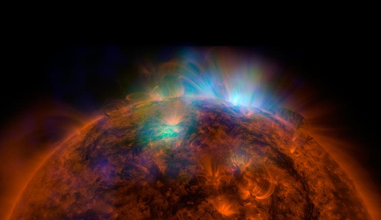 Solar flares ejecting out of the Sun