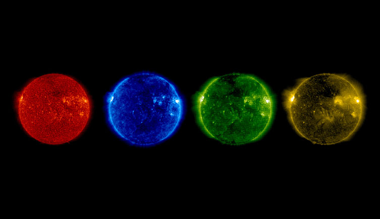 The Sun in different colours seen at differnt ultraviolet wavelengths