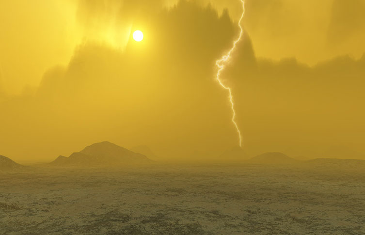 Artist concept of Venus's surface and atmosphere