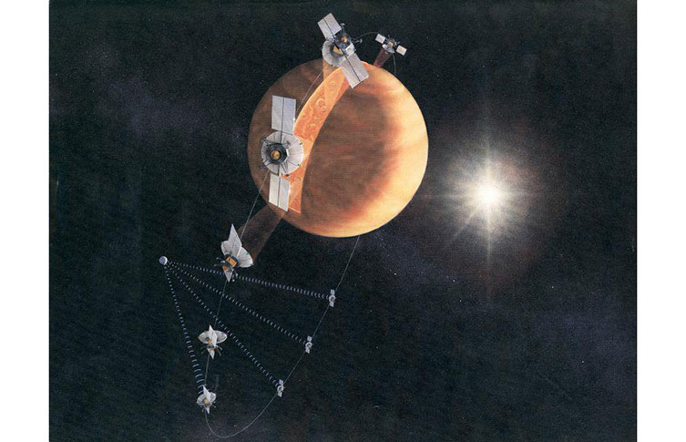 Illustration of the Magellan spacecraft scanning Venus