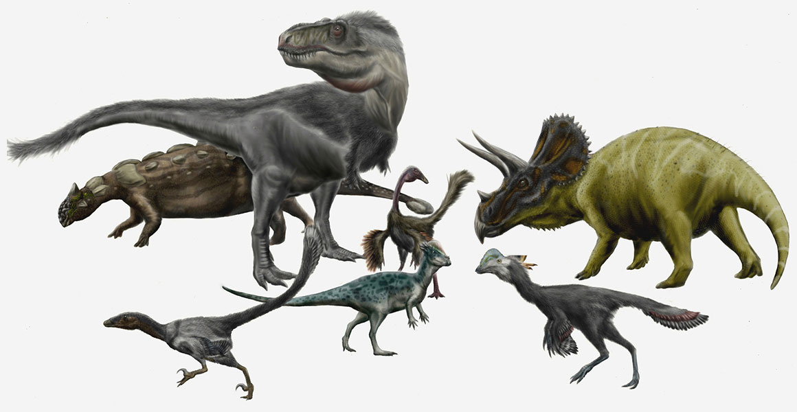 Illustration of various Late Cretaceous dinosaurs from the Hell Creek Formation in the USA