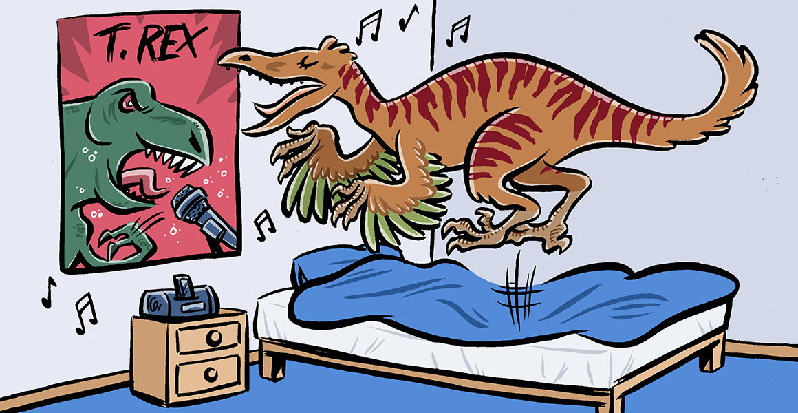 Cartoon of Troodon jumping on its bed and singing to a T. rex poster