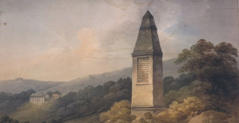 An oil painting of the Wold Cottage obelisk