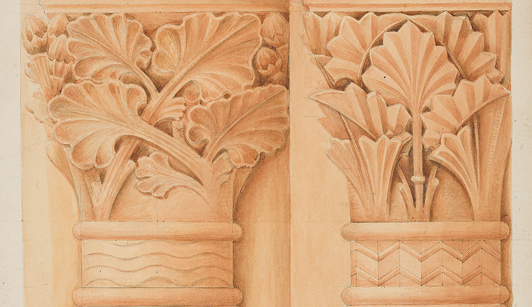 An illustrations made with terracotta wash